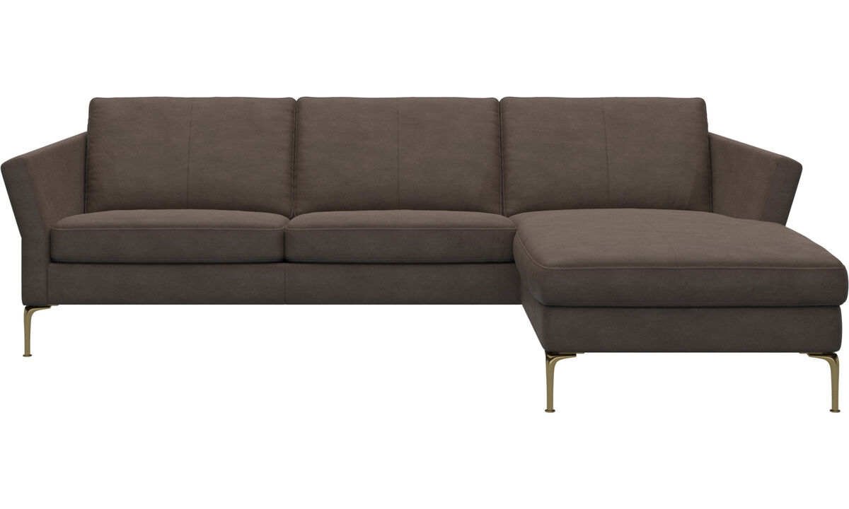 Chaise longue sofas - Marseille sofa with resting unit - Brown - Leather