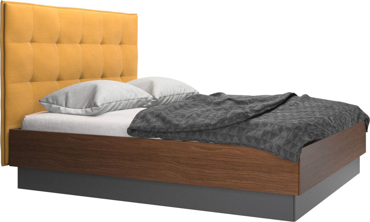Nuevas camas - Cama con canapé Lugano, estructura elevable y tablado, no incluye colchón - En amarillo - Tela