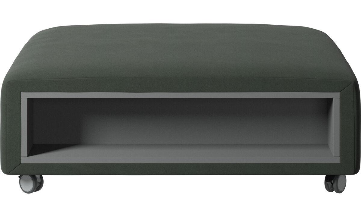 Apoio de pés - Puff Hampton com rodas e armazenamento nas laterais - Verde - Tecido