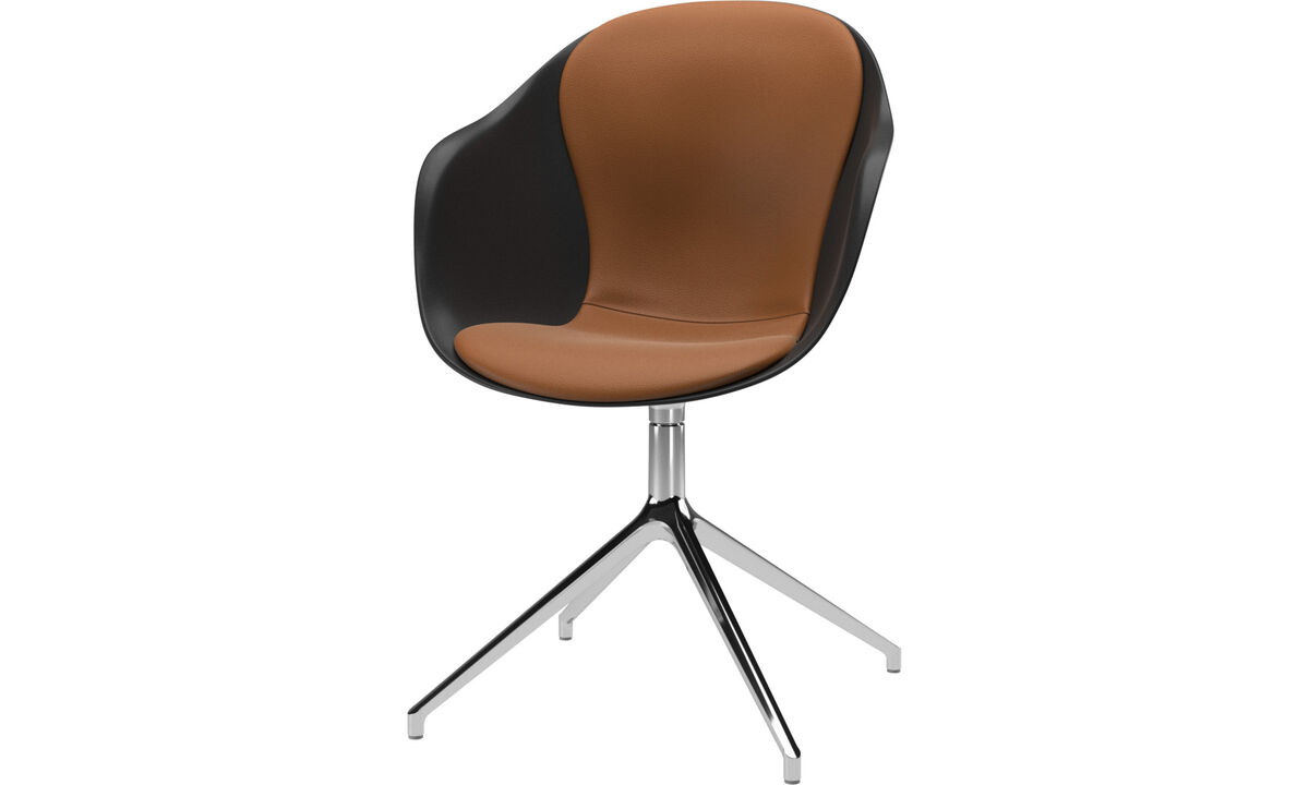Home office chairs - poltroncina Adelaide con funzione girevole - Marrone - Pelle