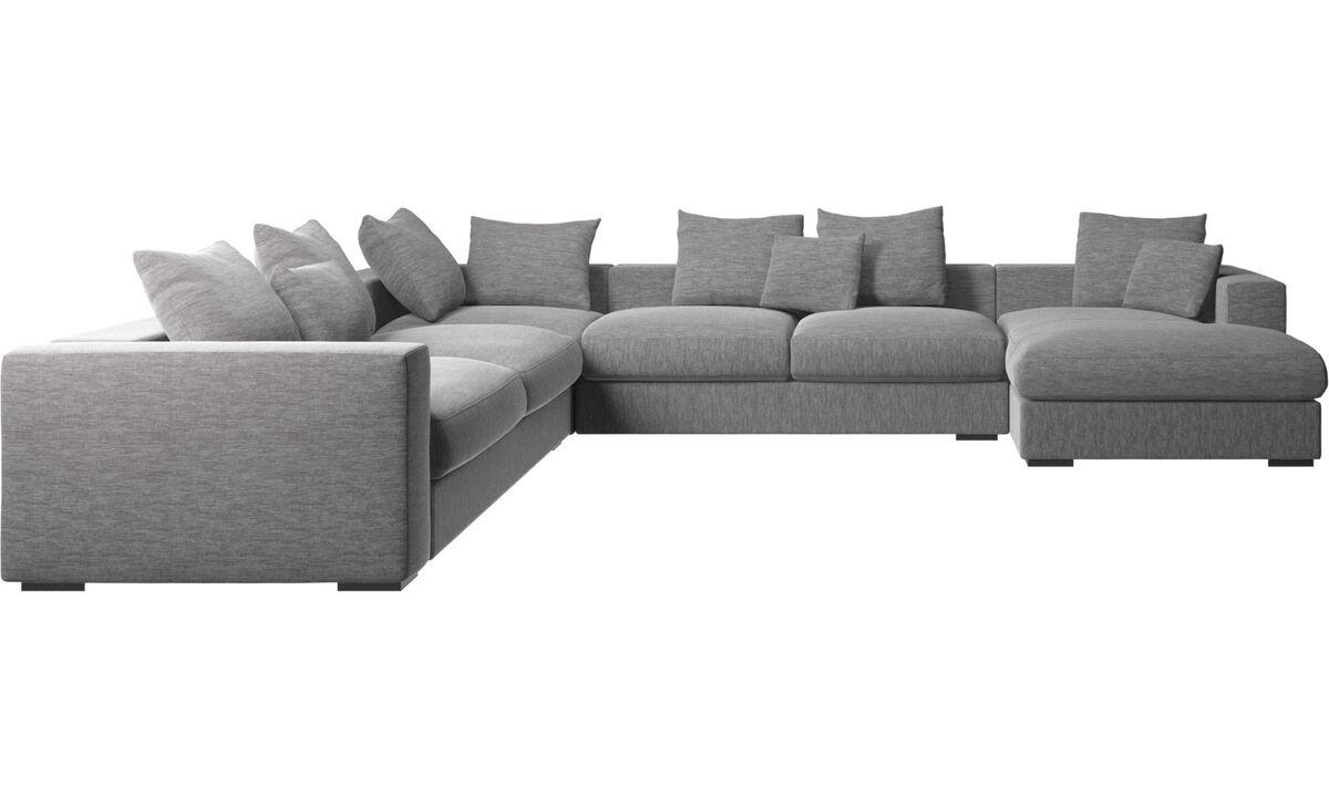 Sofás esquineros - Sofá esquinero Cenova con módulo chaise-longue - En gris - Tela