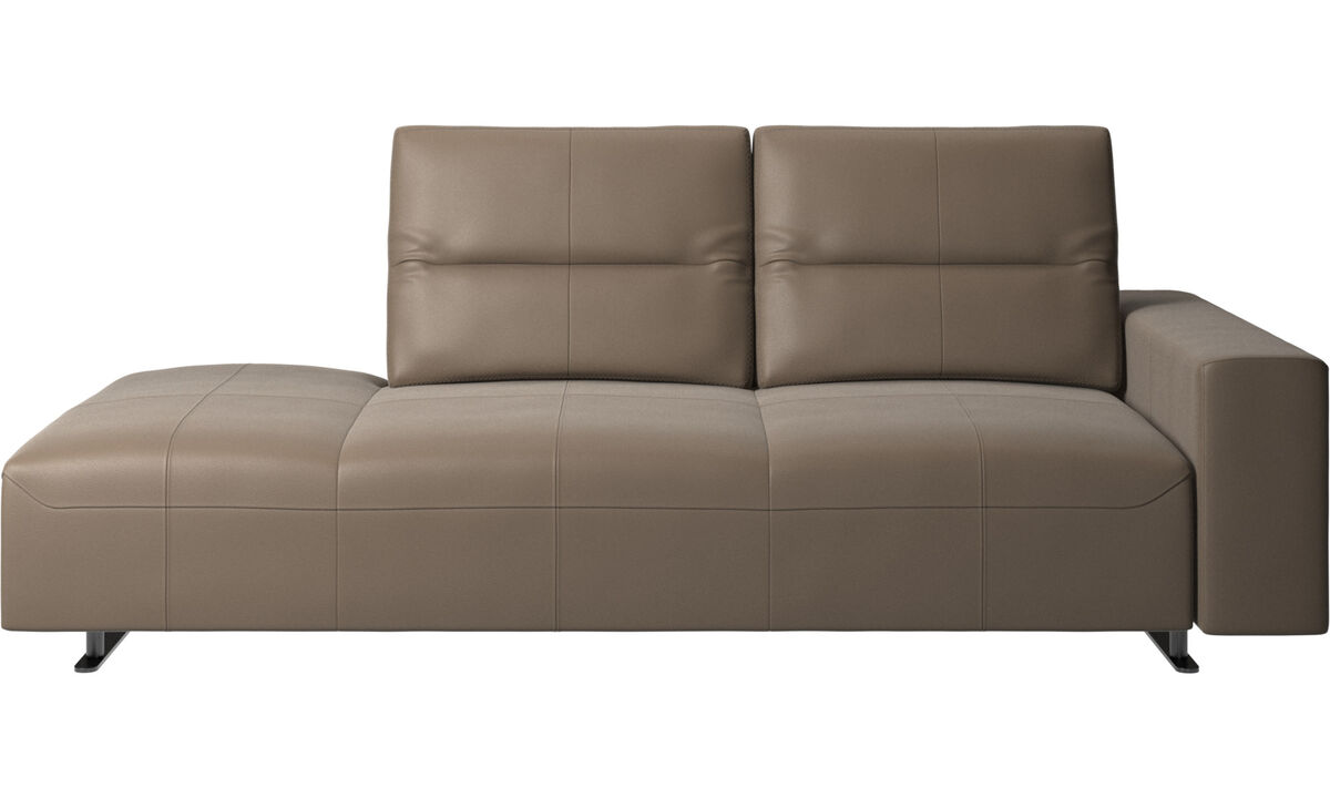 Sofas with open end - Hampton sofa with adjustable back and lounging unit left side, armrest right - Grey - Leather