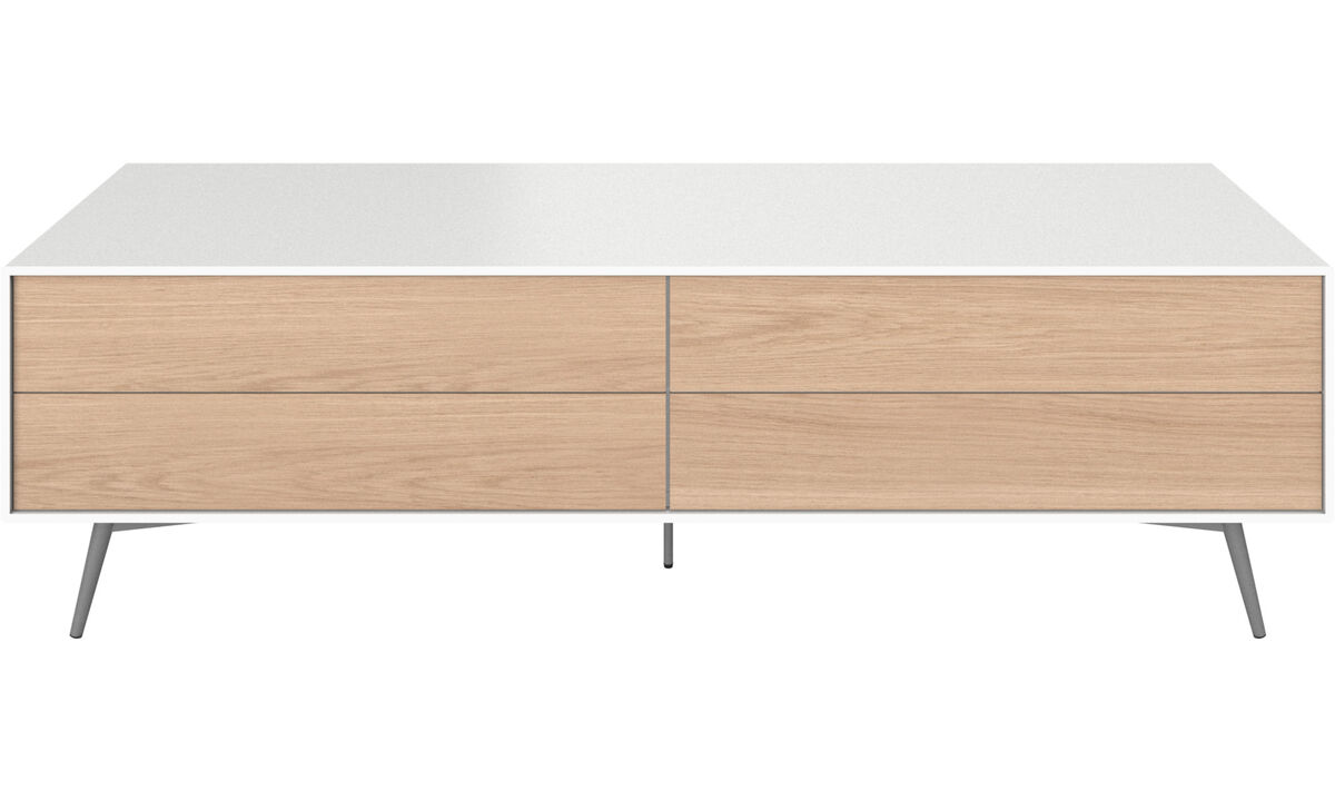 Tv units - Fermo media unit with drop down door and drawer - White - Lacquered