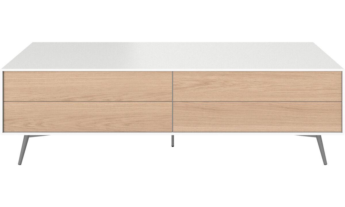 Muebles de TV - Módulo multimedia Fermo con puertas abatibles hacia abajo y cajón - Blanco - Laca