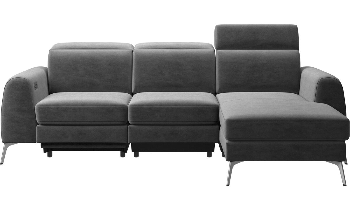 New designs - Madison sofa with resting unit, and electric seat, head and foot rest motion (rechargeable lithium battery included) - Gray - Fabric