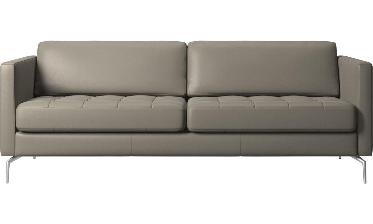 Sofás de 2 plazas y media - sofá Osaka, asiento capitoné - En gris - Piel