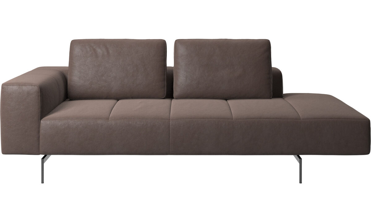 Modular sofas - Amsterdam resting module for sofa, armrest left, open end right - Brown - Leather