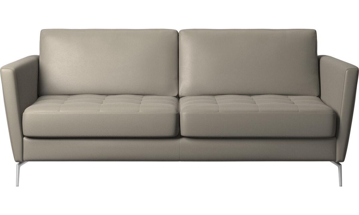 Schlafsofas - Osaka Schlafsofa, getuftete Sitzfläche - Grau - Leder