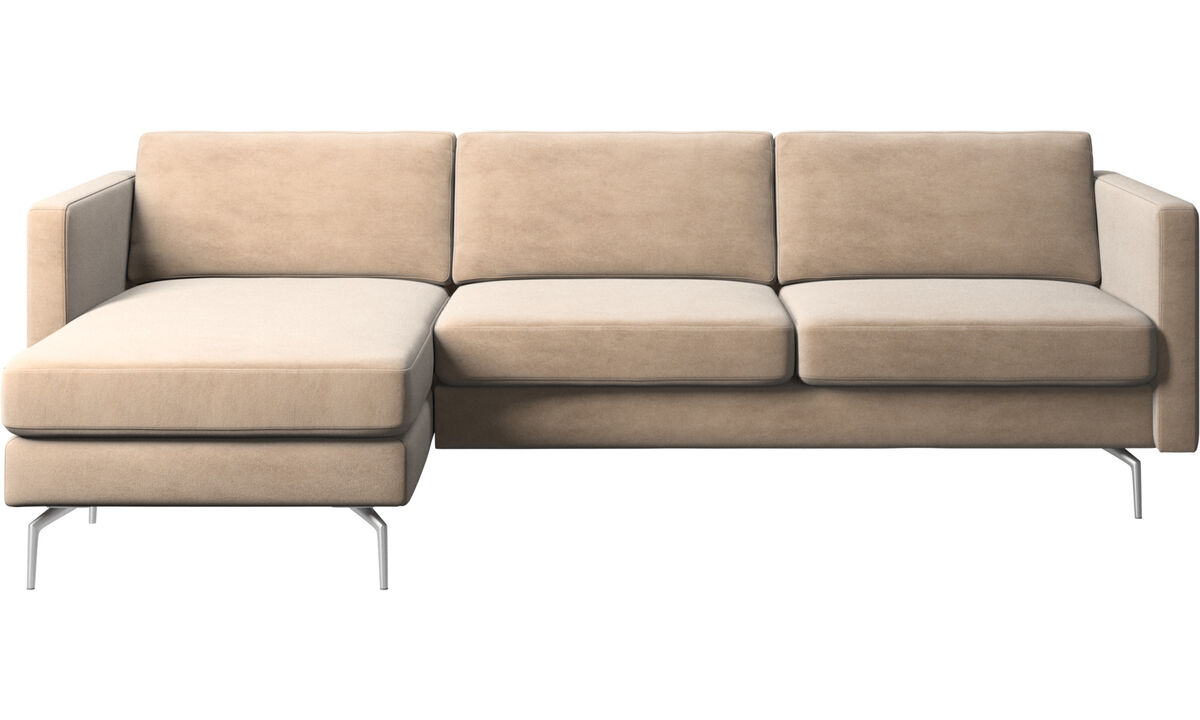 Canapés avec chaise longue - canapé Osaka avec chaise longue, assise classique - Beige - Tissu