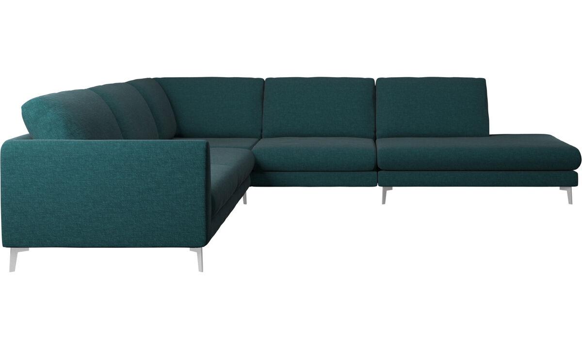 Sofas with open end - Fargo divano ad angolo con modulo relax - Blu - Tessuto