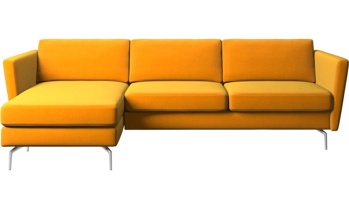 Sofás com chaise - Sofá Osaka com módulo chaise-longue, assento regular - Laranja - Tecido