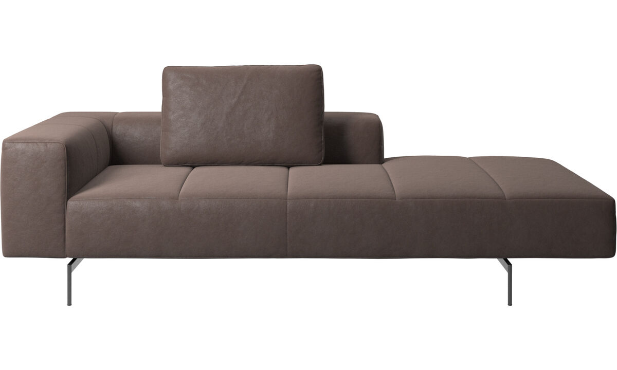 Modular sofas - Amsterdam Iounging module for sofa, armrest left, open end right - Brown - Leather