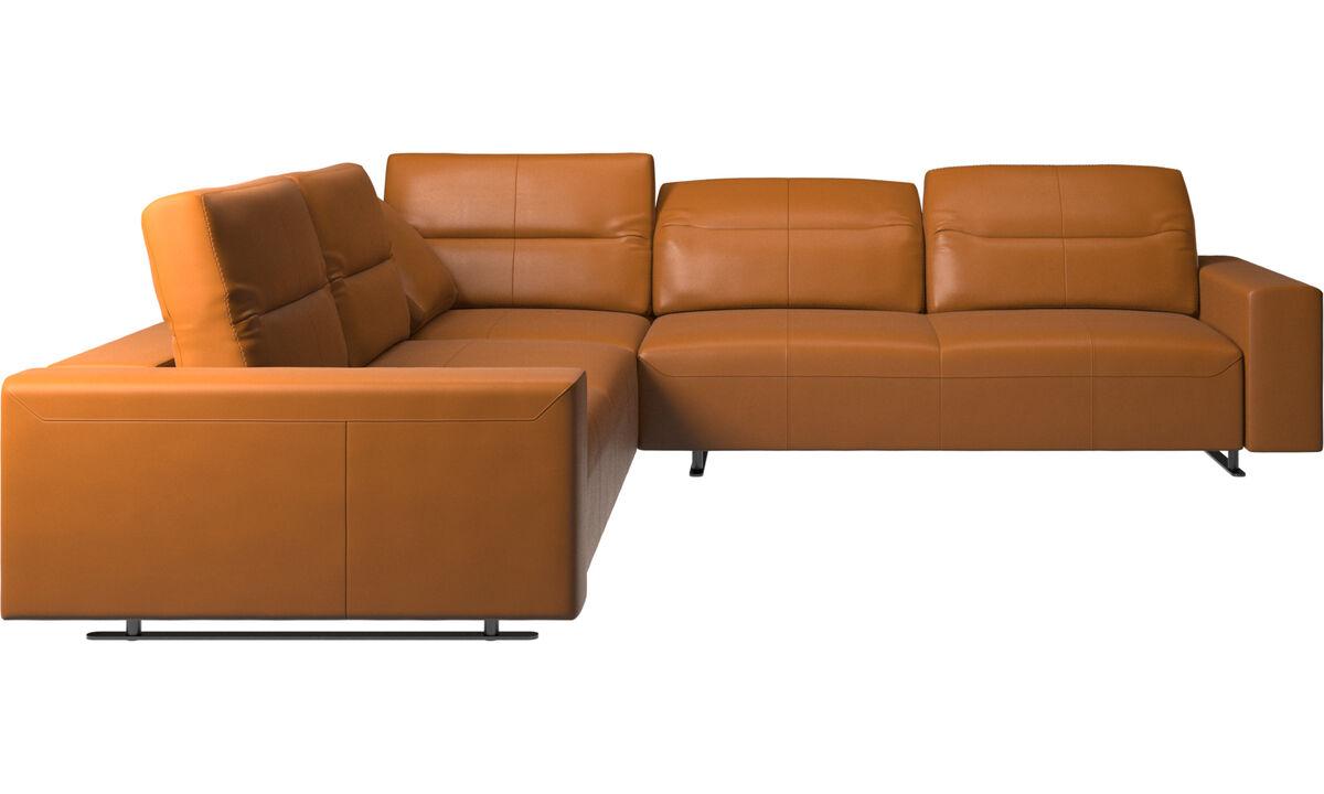 Corner sofas - Hampton corner sofa with adjustable back - Brown - Leather