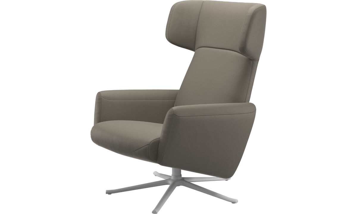 Armchairs - Lucca wing recliner with swivel function - Grey - Leather
