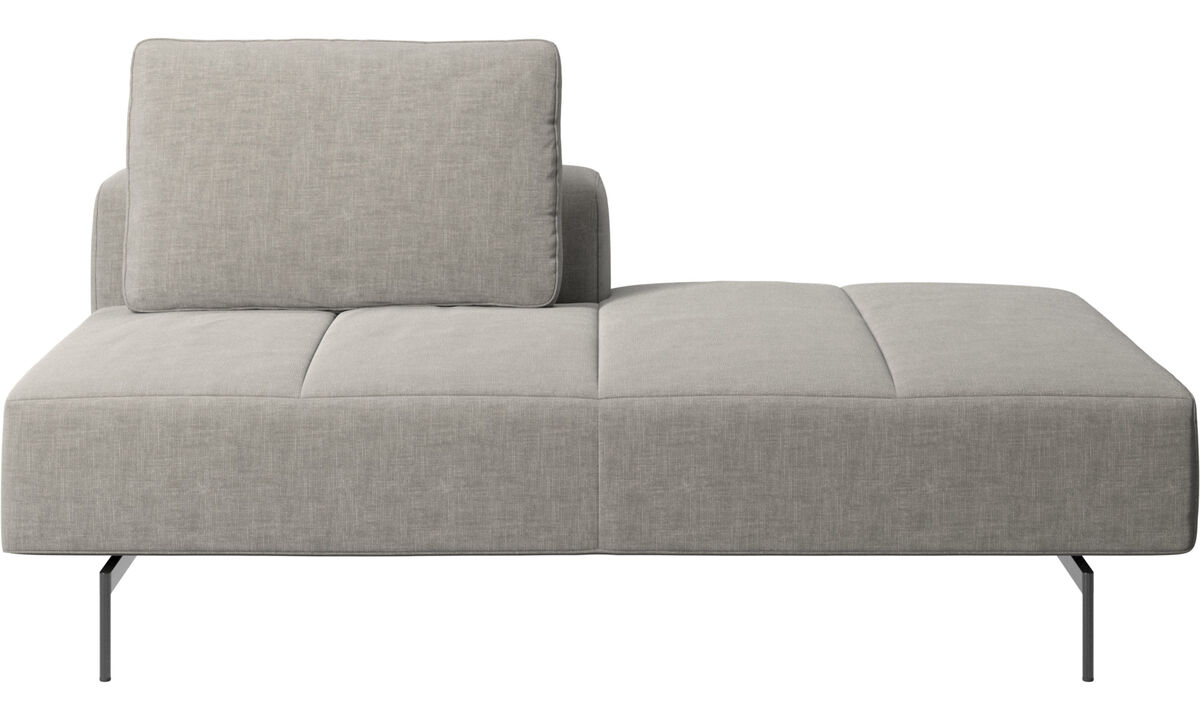 Sofas with open end - Amsterdam lounging module for sofa, small armrest right - Grey - Fabric