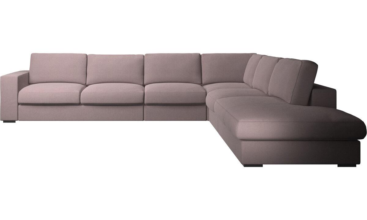 Sofás esquineros - sofá esquinero Cenova con módulo de descanso - Morado - Tela