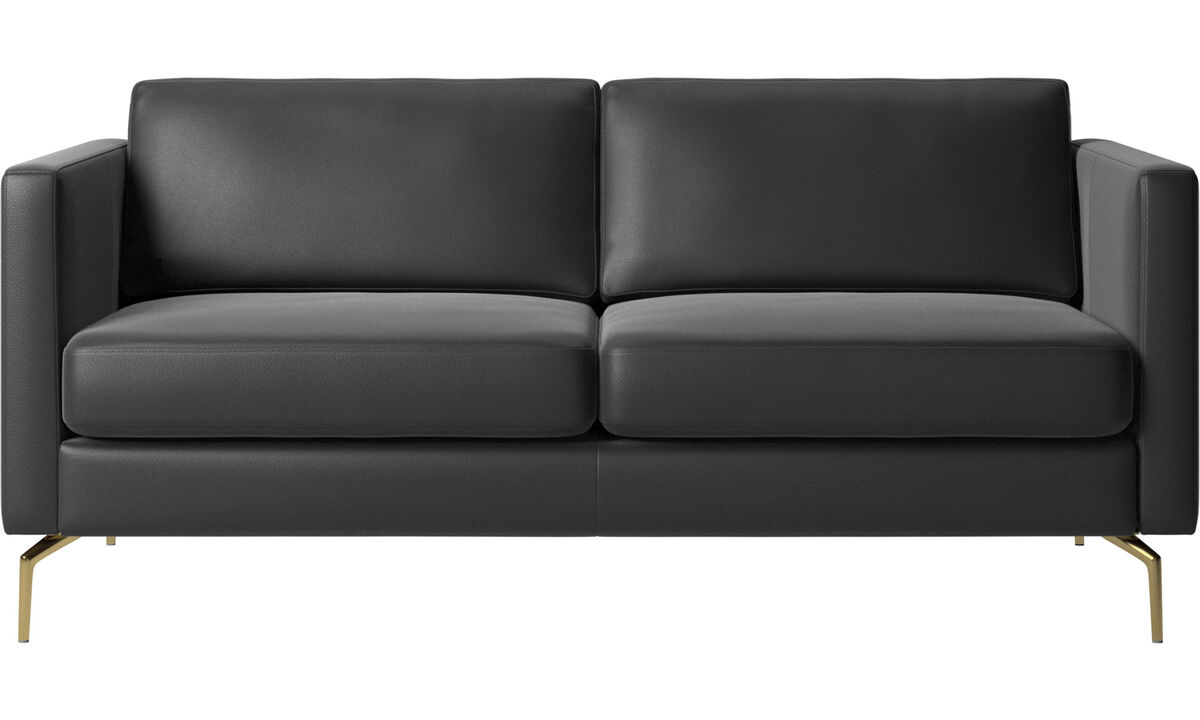 2 seater sofas - Osaka sofa, regular seat - Black - Leather