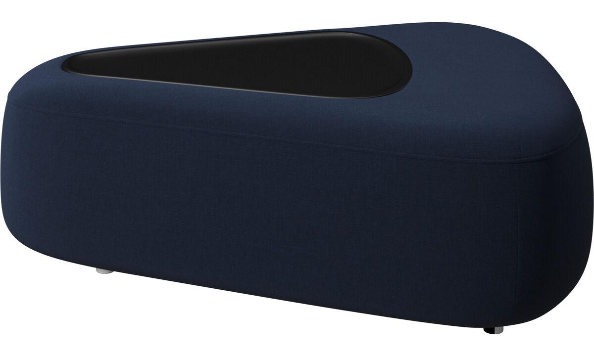 Pufs - Puf triangular Ottawa con bandeja y cargador USB - En azul - Tela