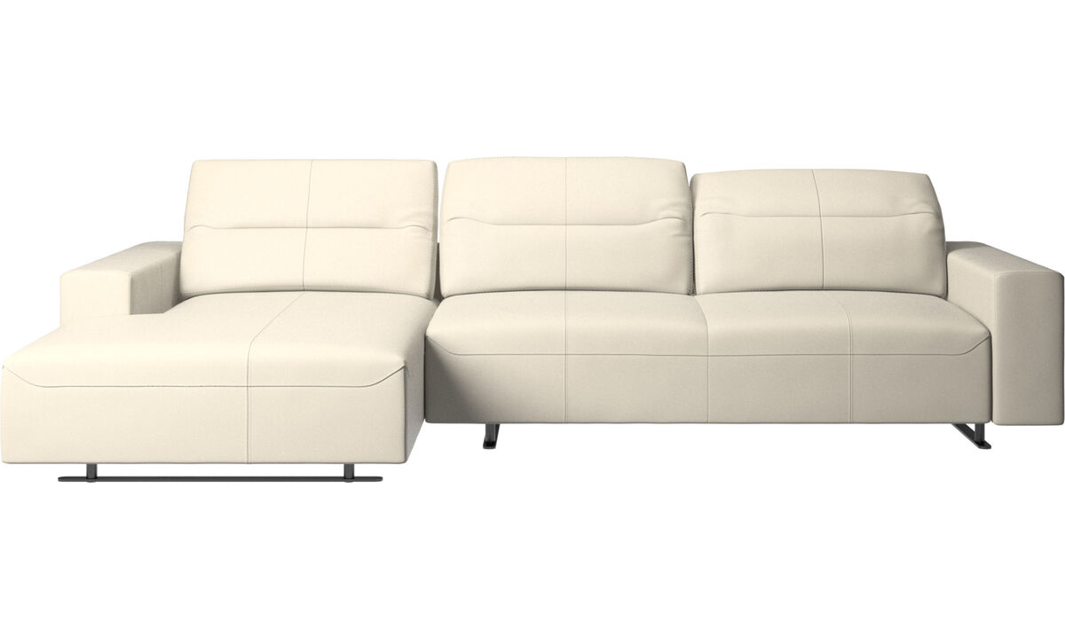 Chaise lounge sofas - Hampton sofa with adjustable back, resting unit and storage left side - White - Leather