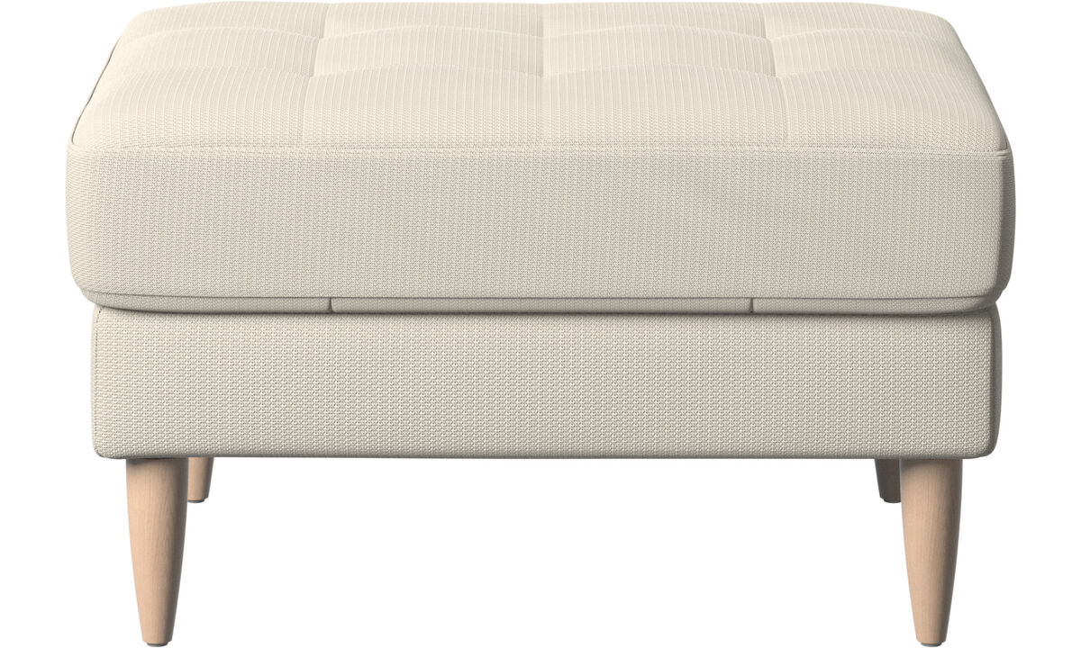 Ottomans - Osaka footstool, tufted seat - White - Fabric