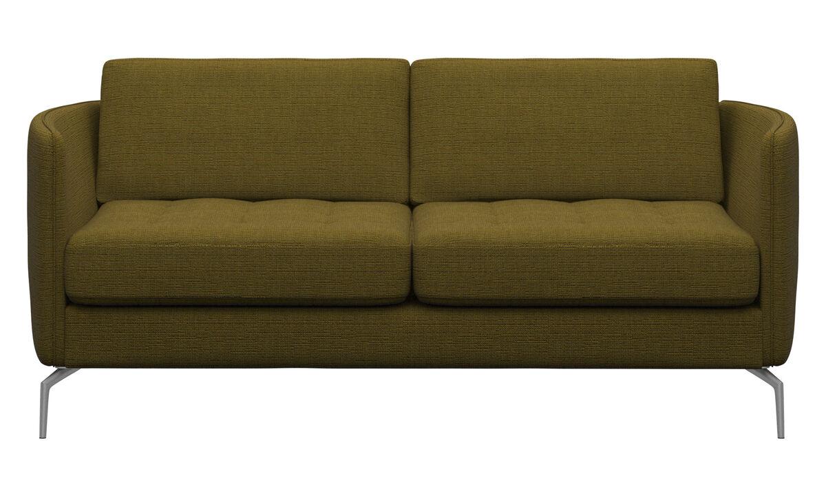 Sofás de 2 plazas - sofá Osaka, asiento capitoné - En amarillo - Tela