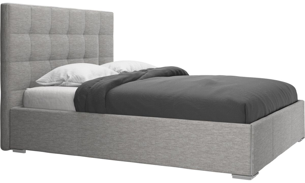 New beds - Mezzo storage bed with lift-up frame and slats, excl. mattress - Grey - Fabric
