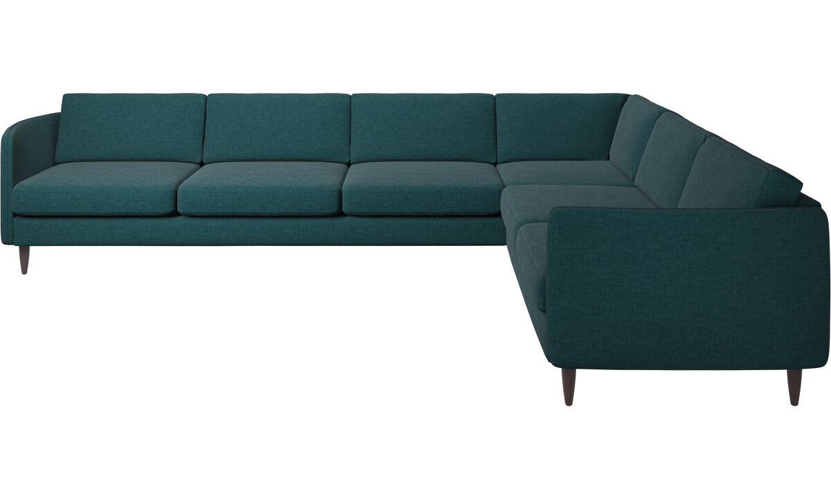 Sofás esquineros - sofá esquinero Osaka, asiento regular - En azul - Tela