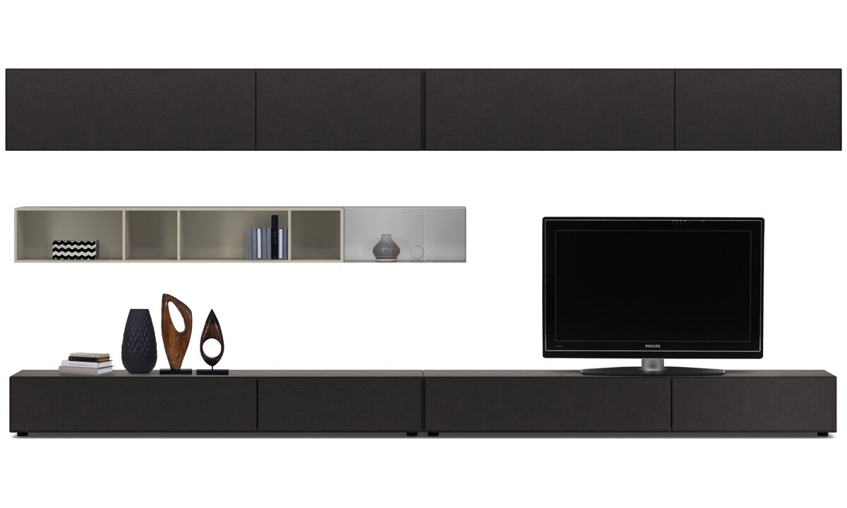Wall systems - Lugano wall system with drawers, drop down and flip up doors - Black - Oak
