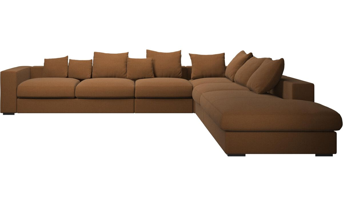 New designs - Cenova corner sofa with lounging unit - Brown - Fabric