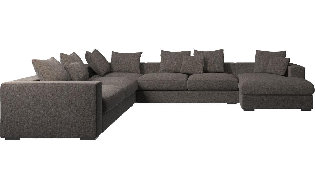 Sofás esquineros - Sofá esquinero Cenova con módulo chaise-longue - En marrón - Tela