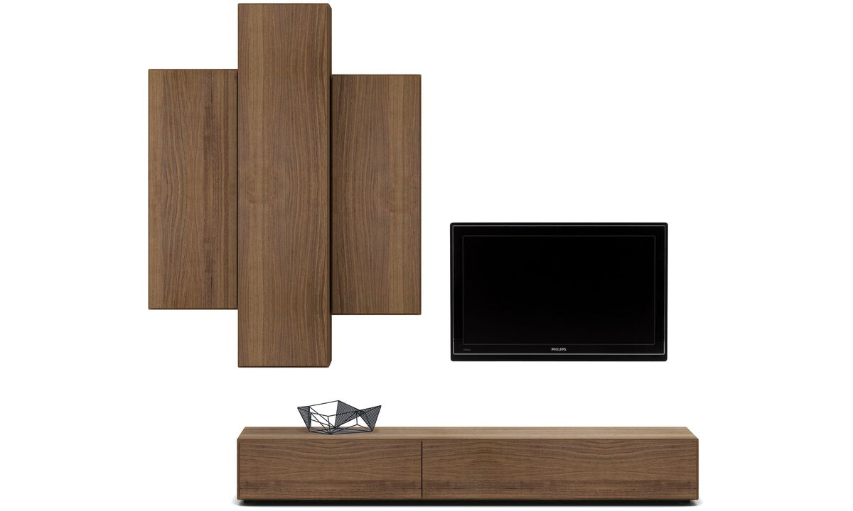 Wall systems - Lugano wall system with drawer and drop-down door - Brown - Walnut
