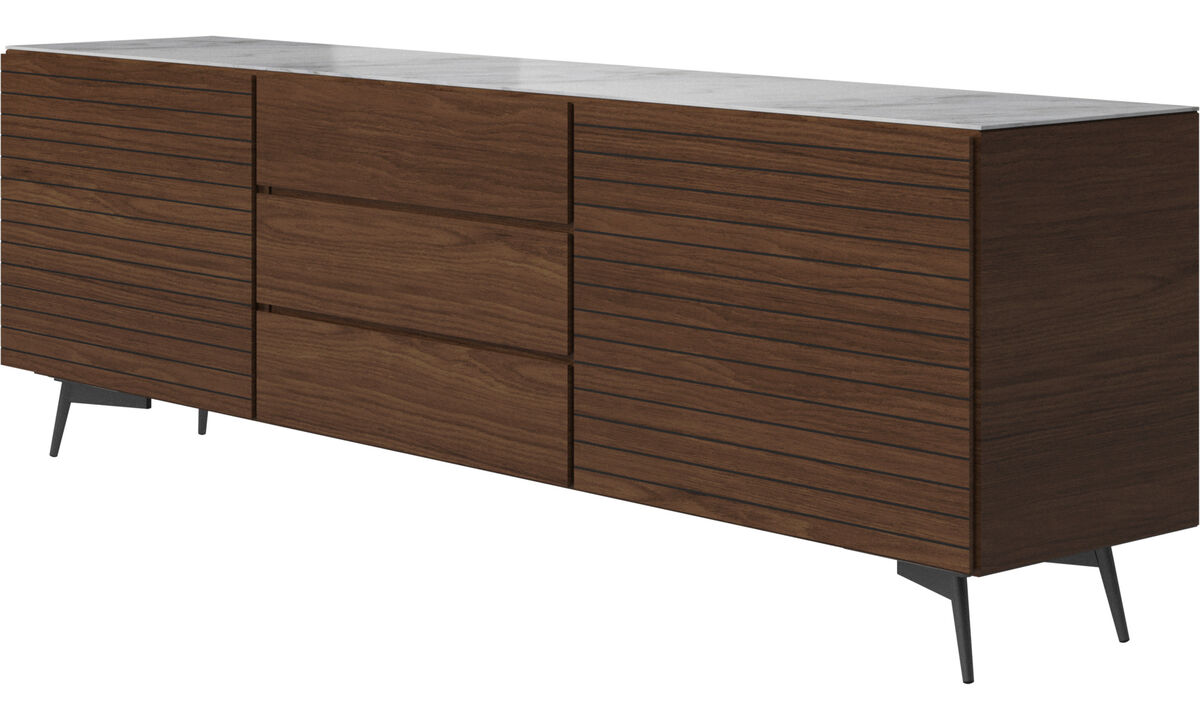Sideboards - Lugano sideboard with top-plate - White - Walnut