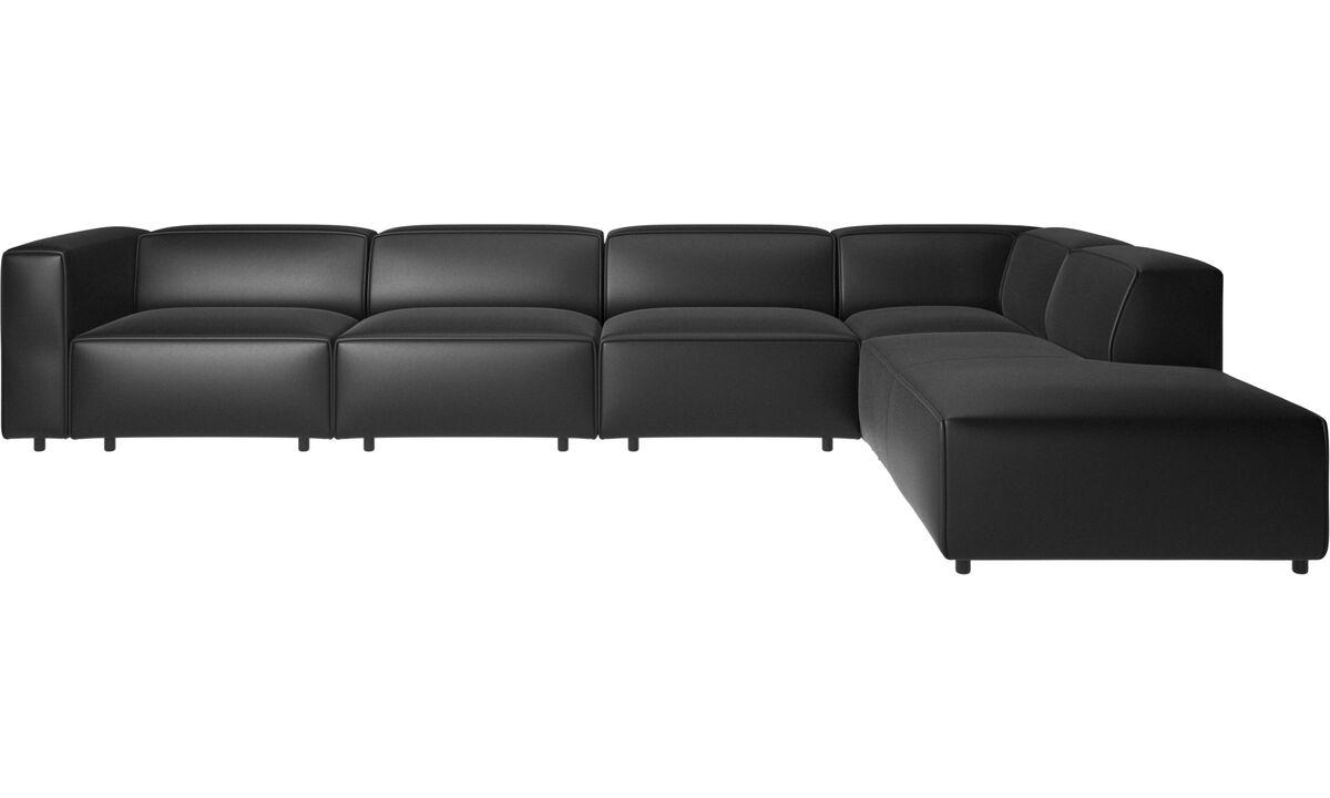 Sofás de canto - Sofa com movimento Carmo com canto - Preto - Pele