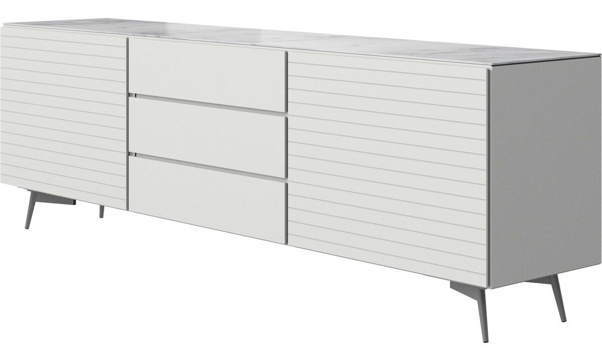 Sideboards - Lugano sideboard with top plate - White - Lacquered