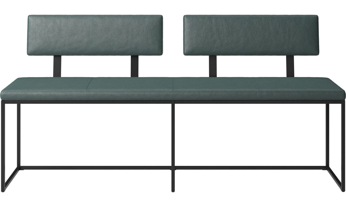 Benches - London large bench with cushion and backrest - Green - Fabric