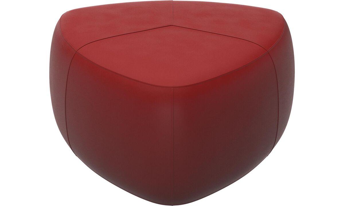Puffer - Bermuda puf - Rød - Læder