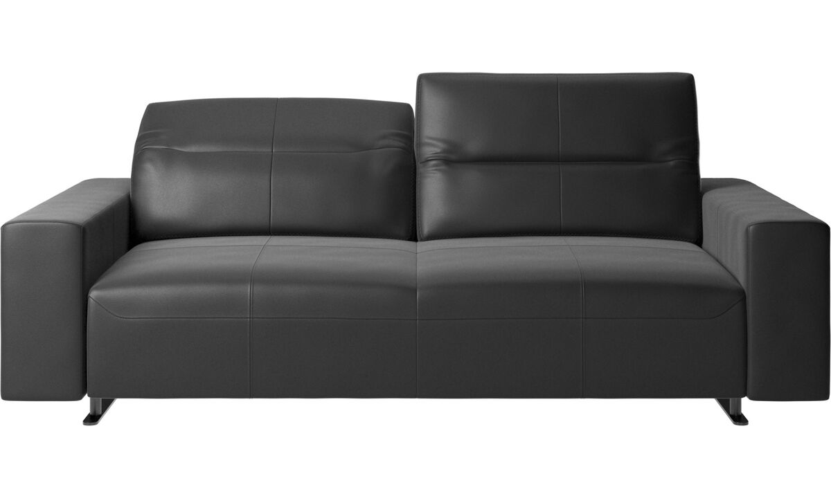 2.5 seater sofas - Hampton sofa with adjustable back and storage on the right side - Black - Leather