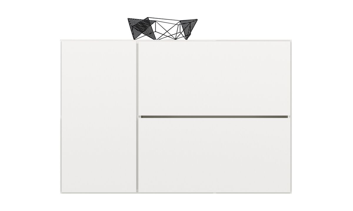Sideboards - Lugano wall mounted wall system with drop-down door - White - Lacquered