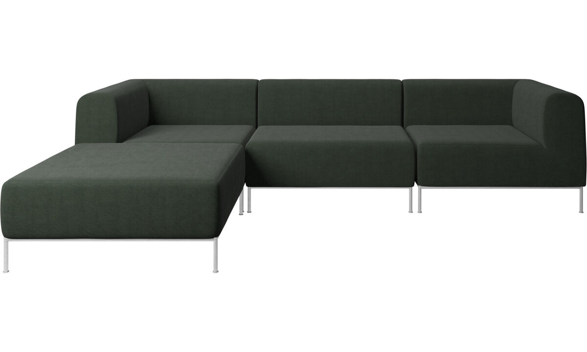 Modular sofas - Miami corner sofa with footstool on left side - Green - Fabric