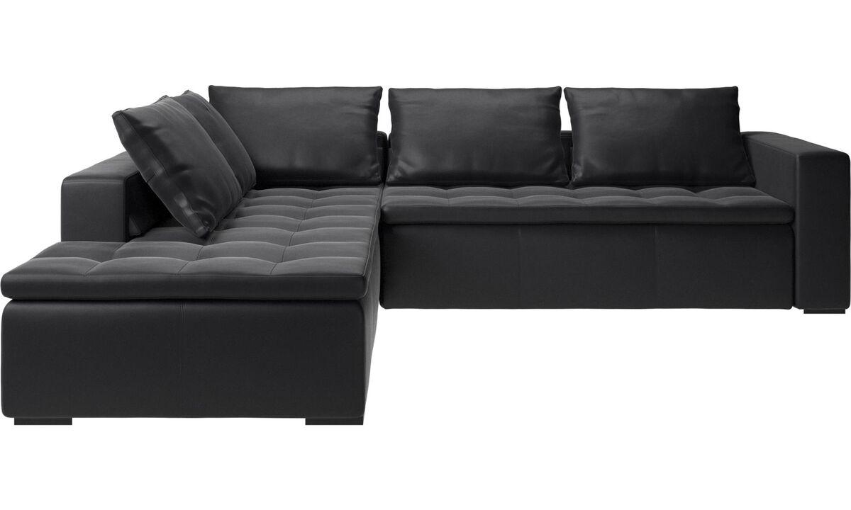 Corner sofas - Mezzo corner sofa with lounging unit - Black - Leather
