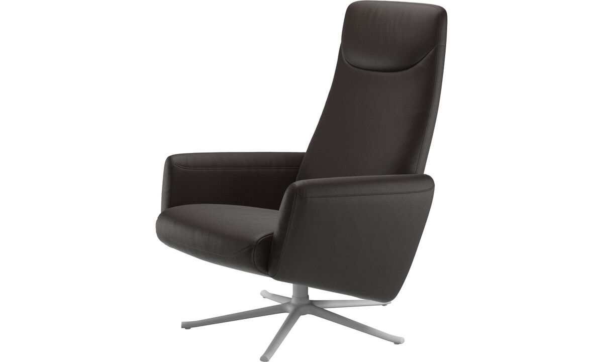 Recliners - Lucca recliner with swivel function - Brown - Leather