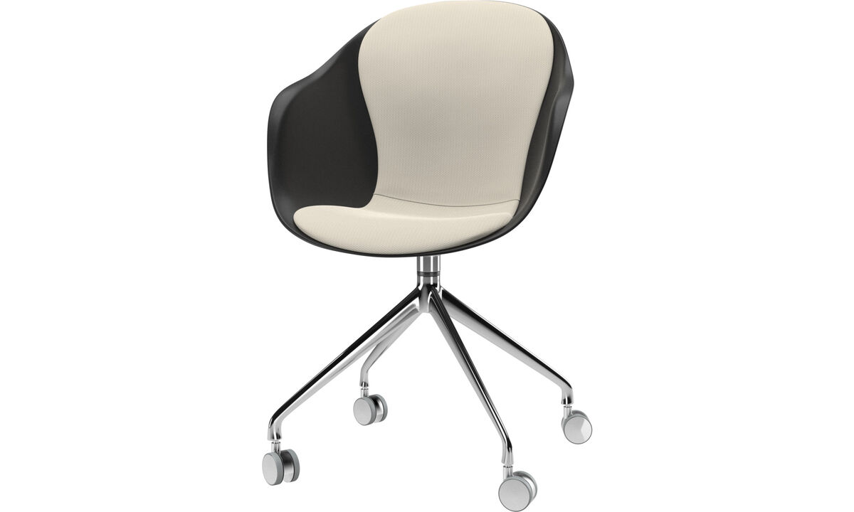 Dining chairs - Adelaide chair with swivel function and wheels - White - Fabric