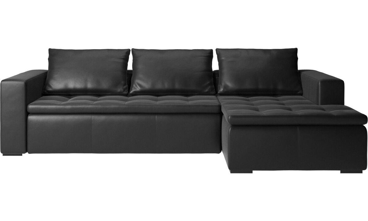 Sofás con chaise longue - Sofá Mezzo con módulo chaise-longue - En negro - Piel