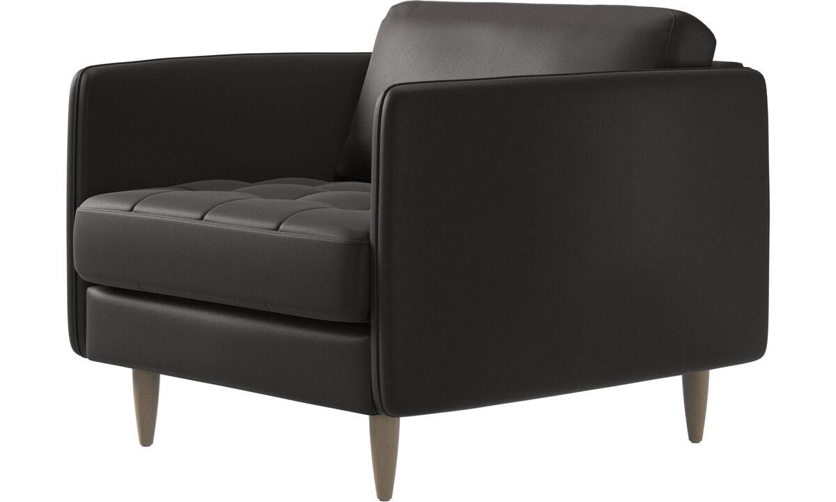 休闲椅 - Osaka椅, 簇绒坐垫 - 褐色 - 革