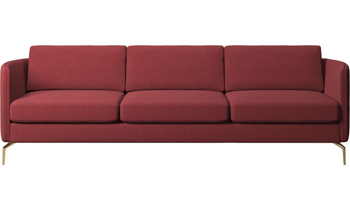 Canapés 3 places - canapé Osaka, assise classique - Rouge - Tissu