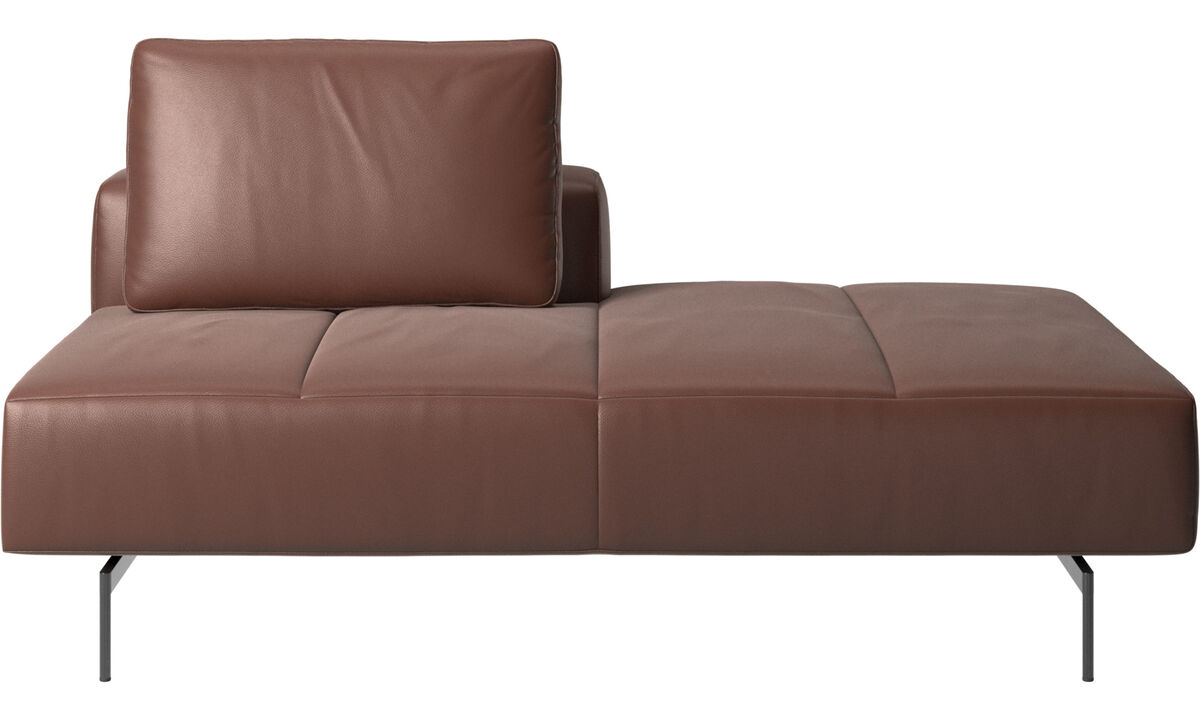Modular sofas - Amsterdam Iounging module for sofa, back rest left, open end right - Brown - Leather