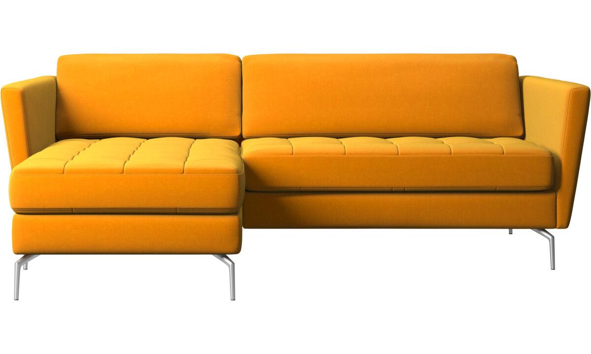 Chaise longue sofas - Osaka divano con penisola relax, seduta trapuntata - Arancio - Tessuto