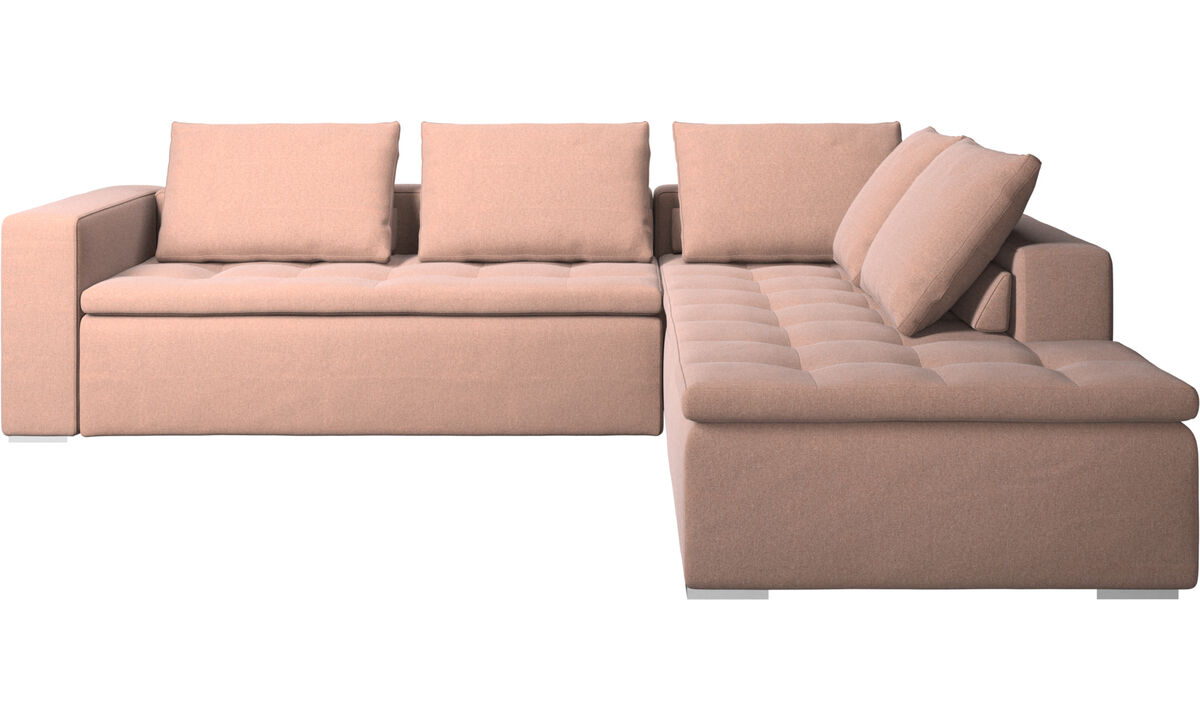 Sofas with open end - Mezzo corner sofa with lounging unit - Red - Fabric