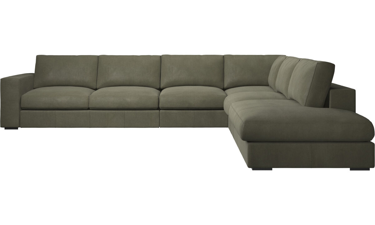 Sofás esquineros - sofá esquinero Cenova con módulo de descanso - En verde - Piel