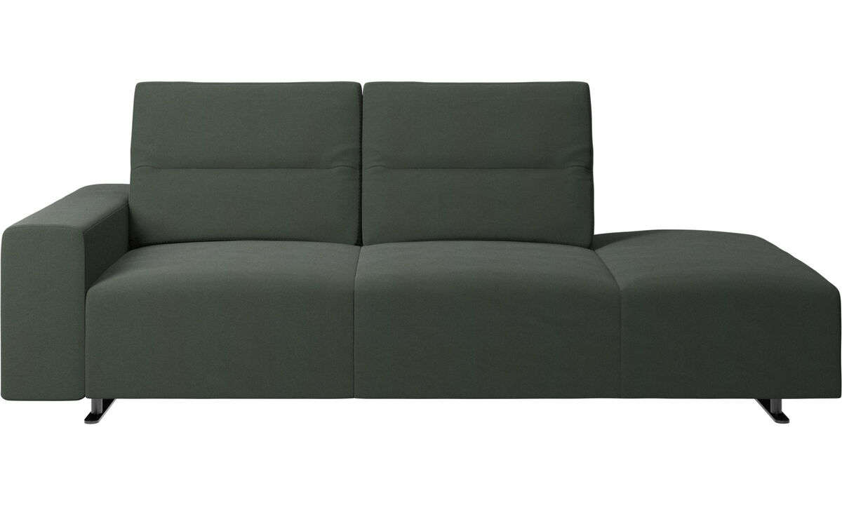 Sofas with open end - Hampton sofa with adjustable back and lounging unit right side, armrest left - Green - Fabric